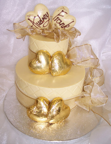 two tiers of chocolate celebrating marriage
