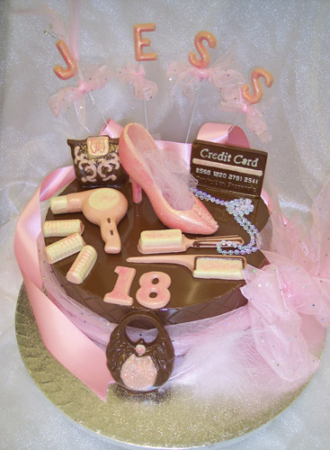 Large single tier of chocolate celebrating 18th birthday