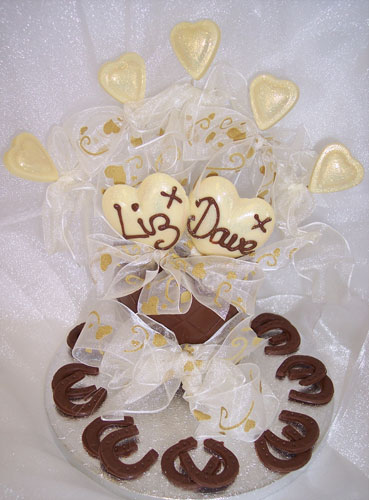 single tier of chocolate celebrating marriage