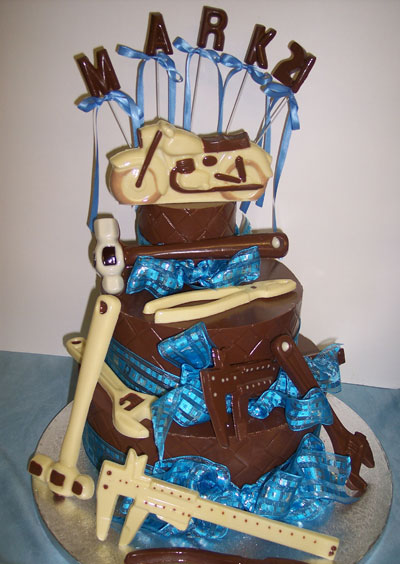 three tiers of chocolate celebrating 21st birthday