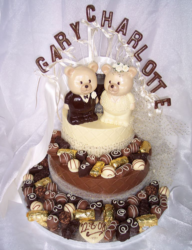 three tiers of chocolate celebrating marriage