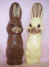 a picture two Lofty bunny rabbits one in milk, and one in white chocolate