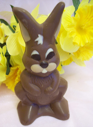 a picture of Thumper, a milk chocolate bunny rabbit decorated with white and dark chocolate.