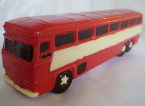 a picture of a red chocolate bus