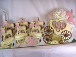 white chocolate carriage and horses decorated with a gold pink ribbon and butterfly